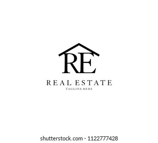 Letter RE Roof House Real Estate Logo Design Template