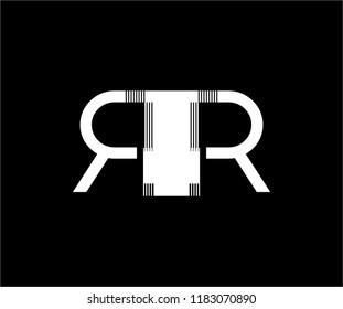 Letter RR Striped Monogram Vector Logo