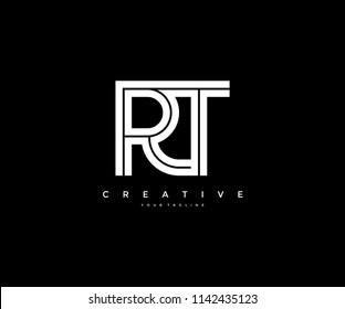 Letter RT Initial LInked Modern Monogram Line Corporate Logo