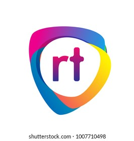 Letter RT logo with colorful splash background, letter combination logo design for creative industry, web, business and company.