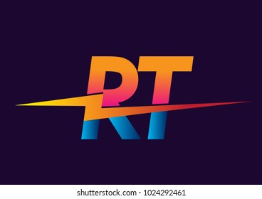 Letter RT logo with Lightning icon, letter combination Power Energy Logo design for Creative Power ideas, web, business and company.