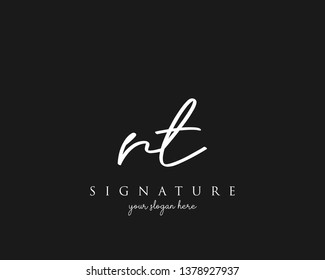 Letter RT Signature Logo Template - Vector