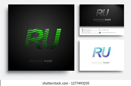 Letter RU logotype with colorful circle, with striped composition letter, sets of business card for company identity, creative industry, web.