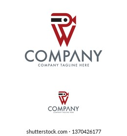 Letter RW and camera logo template