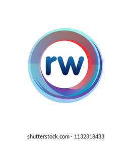 Letter RW logo with colorful circle, letter combination logo design with ring, circle object for creative industry, web, business and company.