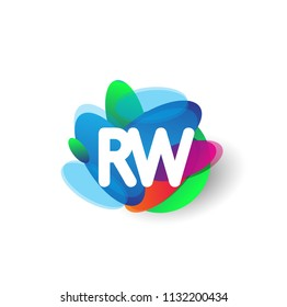 Letter RW logo with colorful splash background, letter combination logo design for creative industry, web, business and company.