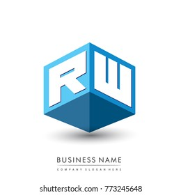 Letter RW logo in hexagon shape and blue background, cube logo with letter design for company identity.