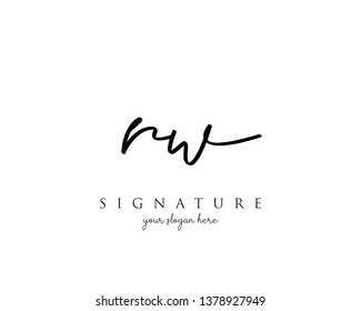 Letter RW Signature Logo Template - Vector