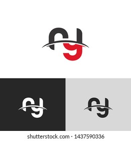 Letter ry linked lowercase logo design template elements. Red letter Isolated on black white grey background. Suitable for business, consulting group company.