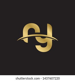 Letter ry linked lowercase logo design template elements. Gold letter Isolated on black  background. Suitable for business, consulting group company.