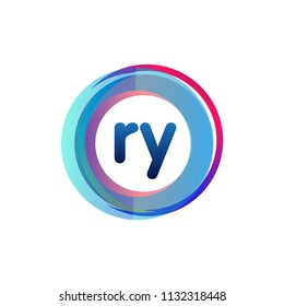 Letter RY logo with colorful circle, letter combination logo design with ring, circle object for creative industry, web, business and company.