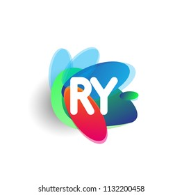 Letter RY logo with colorful splash background, letter combination logo design for creative industry, web, business and company.