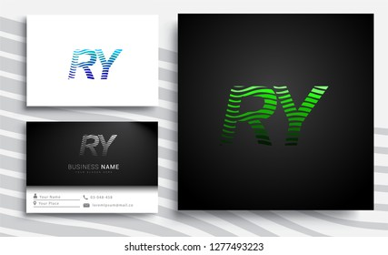 Letter RY logotype with colorful circle, with striped composition letter, sets of business card for company identity, creative industry, web.