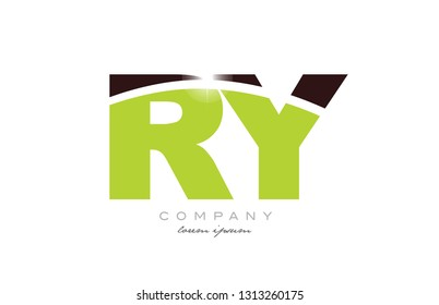 letter ry r y alphabet combination logo icon design with green and brown color suitable for a company or business