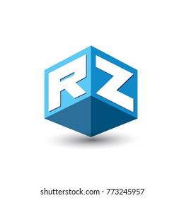 Letter RZ logo in hexagon shape and blue background, cube logo with letter design for company identity.