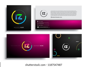 Letter RZ logotype with colorful circle, letter combination logo design with ring, sets of business card for company identity, creative industry, web, isolated on white background.