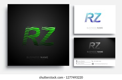 Letter RZ logotype with colorful circle, with striped composition letter, sets of business card for company identity, creative industry, web.