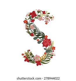 Letter S - 19 letter of the alphabet. Vector hand-drawn monogram composed of flowers, branches and leaves on a white background.