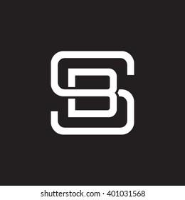 letter S and B monogram square shape logo white black background