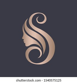 Letter S beauty salon logo.Rose gold metallic shape.Beautiful woman profile view portrait.Lettering icon.Alphabet initial sign for hair, spa and aesthetics business.Modern, elegant, luxury style.
