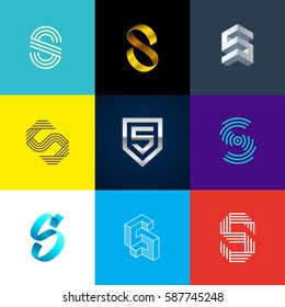 "Letter ""S"" big logo pack. Isometric, minimal, line, colorful, ribbon, geometric, luxury vector monograms. Eps10 format."