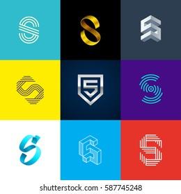 "Letter ""S"" big logo pack. Isometric, minimal, line, colorful, ribbon, geometric, luxury vector monograms. Eps10 format."