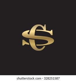 letter S and C monogram golden logo