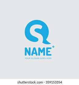 letter s and chat bubble logo design vector template company mobile app