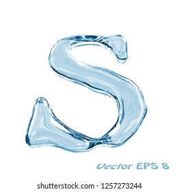 Letter S from clear transparent bluish water droplets. Isolated on white background. Vector EPS 8.