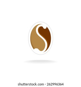 Letter S with coffee bean elegant logo template