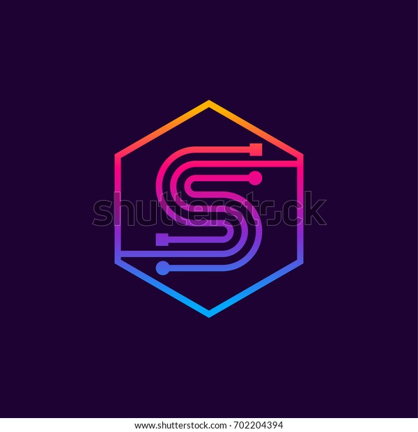 Letter S colorful, Dots logo, linear hexagon shape, Digital and Technology logotype for your Corporate identity