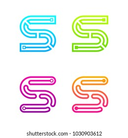 Letter S Colorful logotype with Three Line Dots Link, Square and Circle shape Maze Labyrinth, Technology and Digital Connection concept for your Corporate identity
