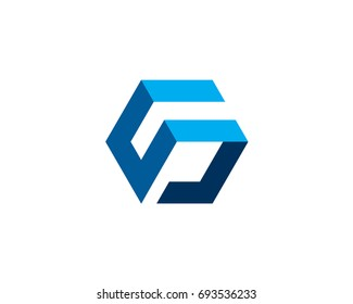 letter S cube 3d box blue logo