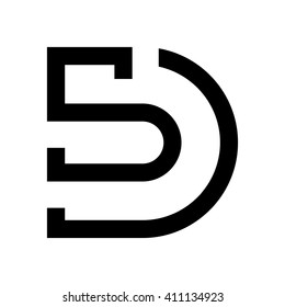 letter S and D logo vector.