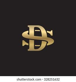 letter S and D monogram golden logo