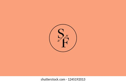 LETTER S AND F FLOWER LOGO WITH CIRCLE FRAME FOR LOGO DESIGN OR ILLUSTRATION USE