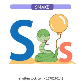 Letter S and funny cartoon snake.  Animals alphabet a-z. Cute zoo alphabet in vector for kids learning English vocabulary. Printable sheet.