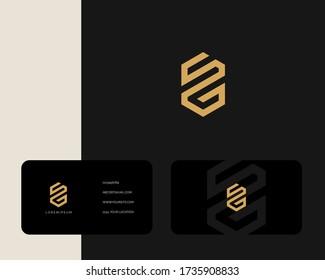 Letter S G logo design with business card vector template. creative minimal monochrome monogram symbol. Premium business logotype. Graphic alphabet symbol for corporate identity