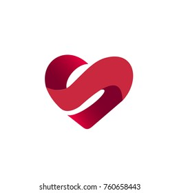 Letter S in Heart Shape Logo Template
