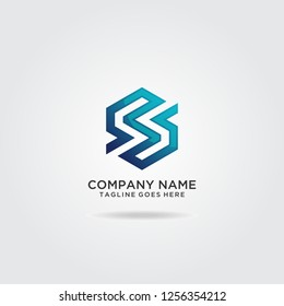 Letter S hexagon logo design