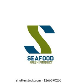 Letter S icon for seafood fresh product store or brand name design. Vector letter S for fish gourmet restaurant or store and fishery farm market or marine food package