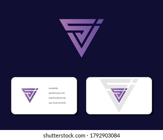 Letter S J logo design with business card vector template. creative minimal monochrome monogram symbol. Premium business logotype. Graphic alphabet symbol for corporate identity