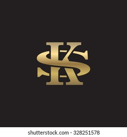 letter S and K monogram golden logo
