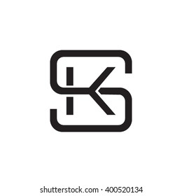 letter S and K monogram square shape logo black