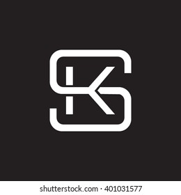 letter S and K monogram square shape logo white black background