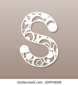 letter S for laser cutting. English alphabet. Vector illustration.