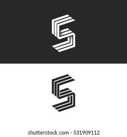 Letter S logo 3D isometric black and white typography design element, hipster minimalistic 5 symbols, initials SSS parallel lines monogram emblem