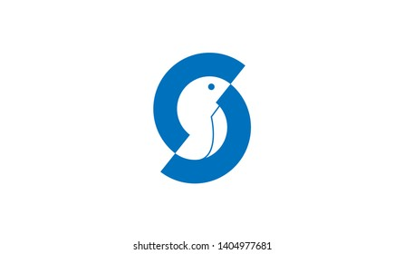 Letter S logo with bird icon design template