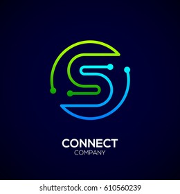 Letter S logo, Circle shape symbol, green and blue color, Technology and digital abstract dot connection