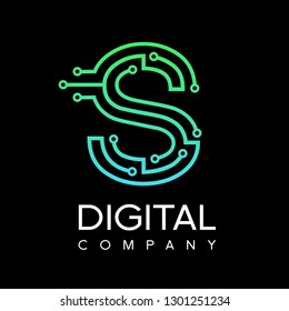 Letter S logo design template,Technology abstract dot connection cross vector logo icon circle logotype. Graphic is suitable for technology, digital, sharp, dot, electric. Gradient blue and green.